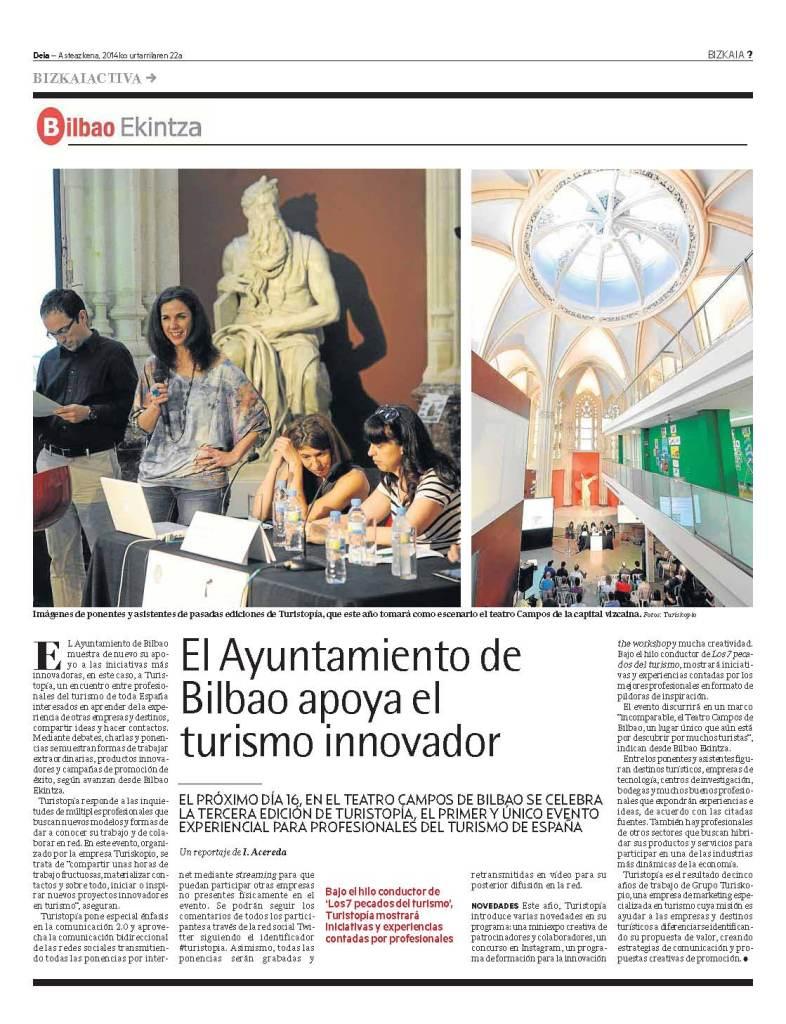 Deia: El ayuntamiento de Bilbao apoya el turismo innovador
