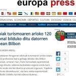 Europa Press: Turistopiak turismoaren arloko 120 profesional bilduko ditu datorren ostegunean Bilbon